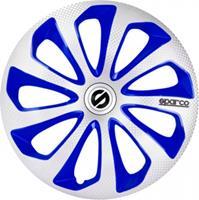 Sparco wieldoppen Sicilia 15 inch ABS zilver/blauw set van 4 S