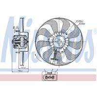 Koelventilatorwiel NISSENS, 3-polig, 290 mm, 12 V