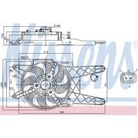 Koelventilatorwiel NISSENS, 2-polig, 280 mm, 12 V