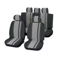 Unitec Newline Sitzbezug 14teilig Polyester Schwarz, Grau Fahrersitz, Beifahrersitz, Rücksitz