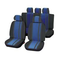 Unitec 84959 Newline Autostoelhoes 14-delig Polyester Blauw, Zwart Bestuurder, Passagier, Achterbank