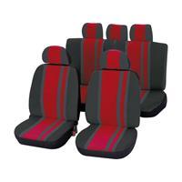 Unitec 84958 Newline Autostoelhoes 14-delig Polyester Rood, Zwart Bestuurder, Passagier, Achterbank