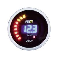 raid hp 660504 Inbouwmeter (auto) Voltmeter Meetbereik 8 - 18 V NightFlight Digital Blue Blauw, Wit 52 mm