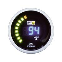 raid hp 660503 Inbouwmeter (auto) Olietemperatuurweergave Meetbereik 40 - 150 °C NightFlight Digital Blue Blauw, Wit 52 mm