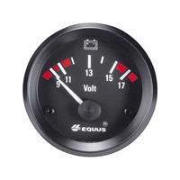 Equus 842060 Inbouwmeter (auto) Voltmeter Meetbereik 9 - 17 V Standart Geel, Rood, Groen 52 mm