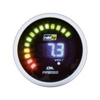 raid hp 660501 Inbouwmeter (auto) Oliedrukweergave Meetbereik 0 - 7 bar NightFlight Digital Blue Blauw, Wit 52 mm