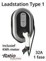 Ratio EV Laadstation type 1, 32A, rechte laadkabel + KWh meter