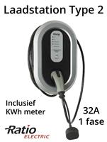 Ratio EV Laadstation type 2, 32A, rechte laadkabel + KWh meter