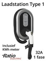 Ratio EV Laadstation type 1, 32A, laadkabel spiraal + KWh meter