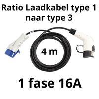 Ratio Laadkabel type 1 naar type 3 - 1 fase 16A - 4 meter