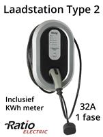 Ratio EV Home Box Plus Laadstation type 2, 32A, rechte laadkabel + KWh meter