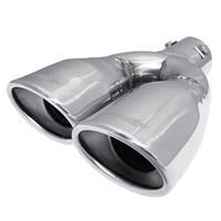 Simoni Racing Uitlaatsierstuk Dubbel Ovaal/Schuin RVS - 167x67xL220mm - Montage 37->57mm - Links