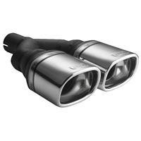Ulter Sport Uitlaatsierstuk - Dubbel Rechthoek 100x75mm Schuin - Lengte 270mm - Montage ->50mm - RVS