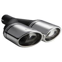 Ulter Sport Uitlaatsierstuk - Dubbel Ovaal 120x80mm Schuin - Lengte 250mm - Montage ->50mm - RVS