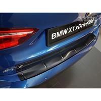 Zwart RVS Achterbumperprotector BMW X1 II F48 M-Pakket 2015-Ribs'