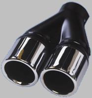 Uitlaatsierstuk Staal/Chroom - 2x rond 70mm - lengte 200mm - ->50mm aansluiting