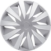 4-Delige J-Tec Wieldoppenset Lazio 14-inch zilver/carbon-look