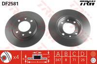 TRW Bremsscheiben DF2581 Scheibenbremsen,Bremsscheibe PEUGEOT,CITROËN,206 Schrägheck 2A/C,206 CC 2D,206 SW 2E/K,106 II 1,306 Schrägheck 7A, 7C, N3, N5