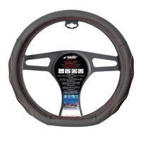 Simoni Racing Stuurwielhoes CompeFlat Bottom' - 37-39cm - Zwart + Rode stiksels