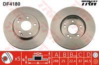 TRW Bremsscheiben DF4180 Scheibenbremsen,Bremsscheibe MERCEDES-BENZ,C-CLASS W203,C-CLASS T-Model S203,C-CLASS W202,SLK R170,E-CLASS W210