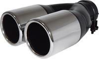 AutoStyle uitlaatsierstuk dubbel rond >60 mm 22 cm RVS chroom