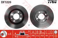 TRW Bremsscheiben DF1220 Scheibenbremsen,Bremsscheibe PEUGEOT,CITROËN,206 Schrägheck 2A/C,206 CC 2D,306 Schrägheck 7A, 7C, N3, N5