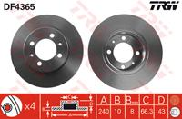 TRW Bremsscheiben DF4365 Scheibenbremsen,Bremsscheibe MG,MGF RD,MG TF