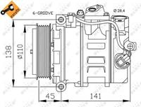 NRF Kompressor 32214 Klimakompressor,Klimaanlage Kompressor MERCEDES-BENZ,C-CLASS W203,E-CLASS W211,C-CLASS W204,C-CLASS T-Model S204