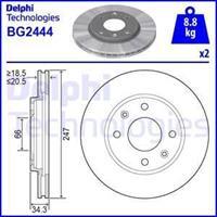 DELPHI Bremsscheiben BG2444 Scheibenbremsen,Bremsscheibe PEUGEOT,CITROËN,MEGA,206 Schrägheck 2A/C,206 SW 2E/K,106 II 1,206+ T3E