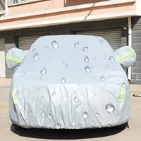 PEVA anti-stof waterdichte zonbestendige Hatchback autohoes met waarschuwingsstrips, geschikt voor auto's met een lengte tot 3,7 m (144 inch)