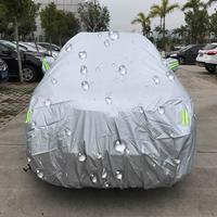 PEVA anti-stof waterdichte zonbestendige SUV-autohoes met waarschuwingsstrips, geschikt voor auto's met een lengte tot 4,8 m (187 inch)