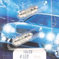 Huismerk Lamp 12V - 4 x LED 10 x 28 wit, 2 stuks