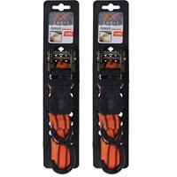Merkloos 2x stuks spanband / sjorbanden oranje met haken 2,5 cm x 4,5 m -