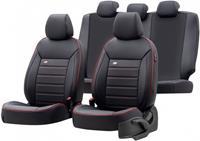 OtoM stoelhoezenset Premium leer/textiel zwart/rood 11 delig