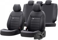 OtoM stoelhoezenset Premium leer/textiel zwart 11 delig