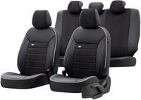 OtoM stoelhoezenset Premium leer/textiel zwart/wit 11 delig