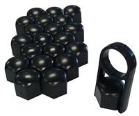 Versaco Universele wielmoerkapjes zwart kunststof 19mm WNC04028