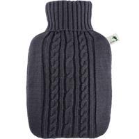 Gebreide kruik donker grijs 1,8 liter met kabelpatroon - warmwaterkruik