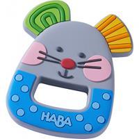 HABA bijtring kleine muis junior 7,5 x 5,5 cm grijs/blauw