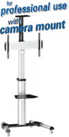professionele verrijdbare vloerstandaard met plank en camera beugel voor schermen tot 70 inch