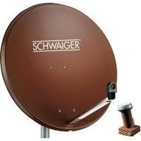 Satellietset zonder receiver Schwaiger 80 cm alu satellietschotel steenrood + Quad LNB Aantal gebruikers: 4