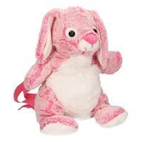 Roze konijn rugzak van super zachte pluche 20 x 36 cm