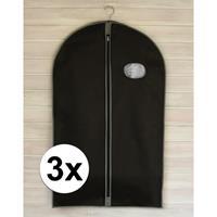 3x Zwarte kledinghoezen met rits 100 cm Zwart