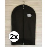 2x Zwarte kledinghoezen met rits 100 cm Zwart
