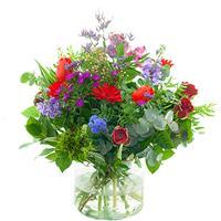 Debloemist Seizoensboeket rood lila/paars