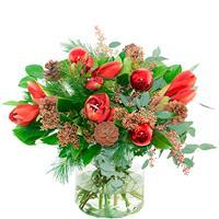 Debloemist Kerstboeket rode amaryllis