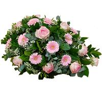 Rouwarrangement roze bloemen