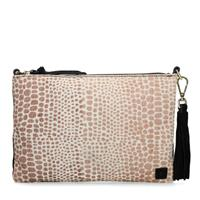Manfield Zwarte clutch met animal print