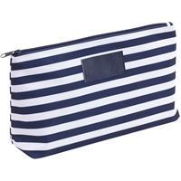 Toilettas/make-up tas gestreept blauw/wit 28 cm voor heren/dames Blauw