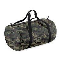 Bagbase Camouflage groene ronde polyester sporttas/weekendtas 32 liter Groen
